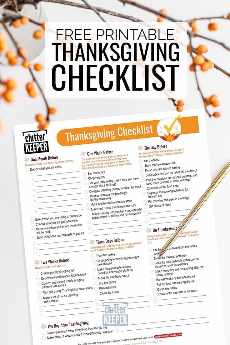 Free printable Thanksgiving checklist to help make hosting Thanksgiving dinner easier for you