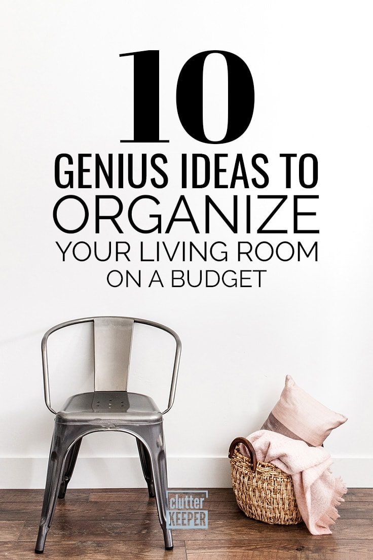 10 Genius Ideas to Organize Your Living Room on a Budget, a metal side chair next to a basket containing a pillow and blanket