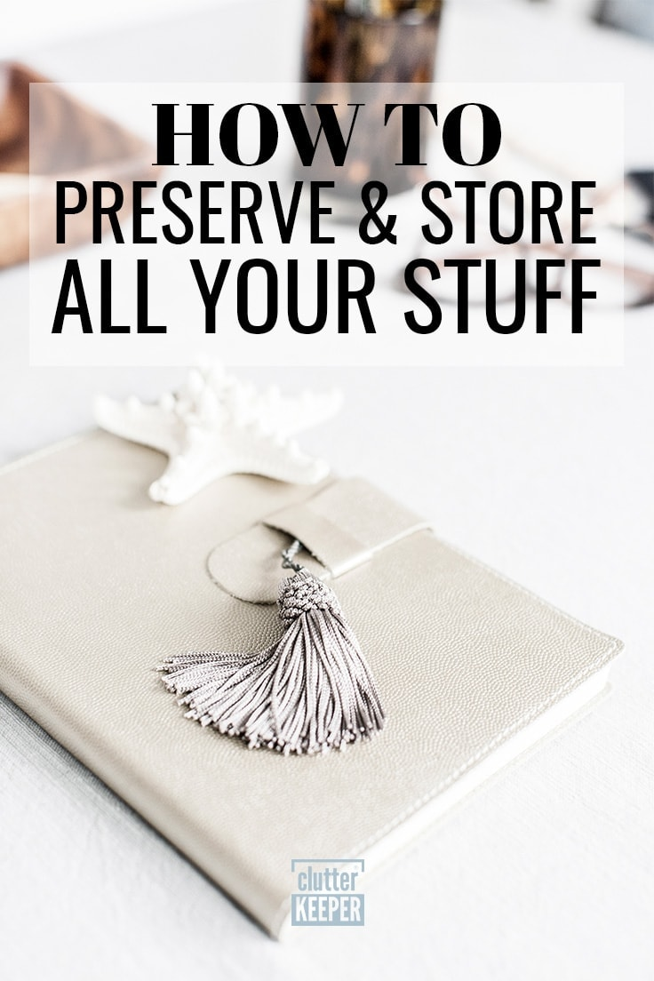 How to Preserve and Store All Your Stuff, a white leather notebook or diary fastened closed with a tassel and a beautiful starfish keepsake