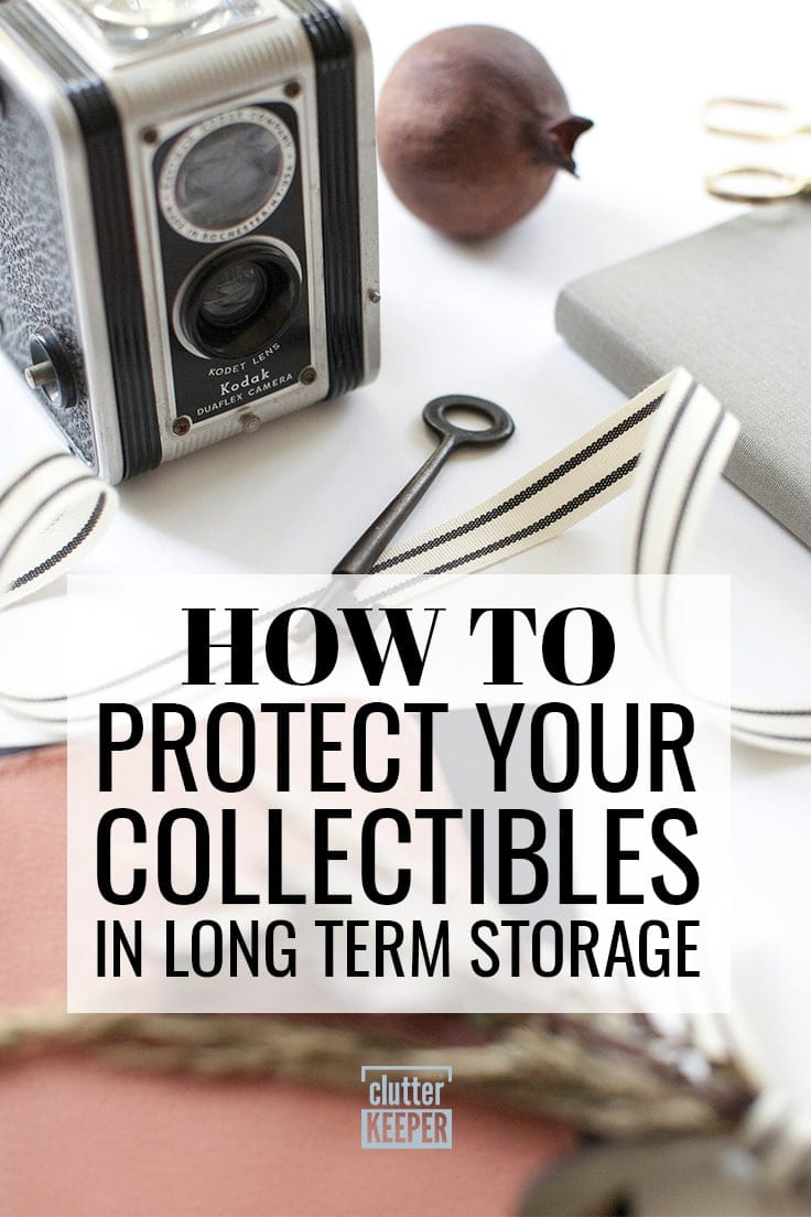 How to Protect Your Collectibles in Long Term Storage, a vintage Kodak camera, an old key, a striped ribbon and other keepsakes