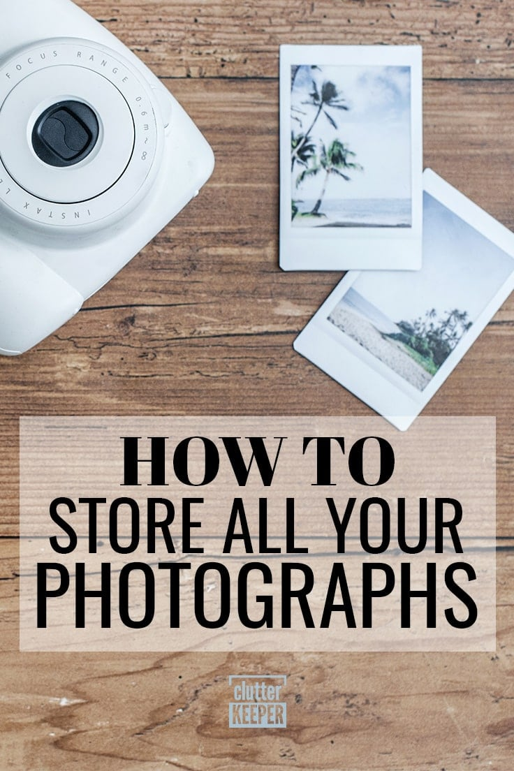 How to Store All Your Photographs, a white Instax camera with two instant photos of palm trees on a beach as a souvenir or keepsake from a vacation
