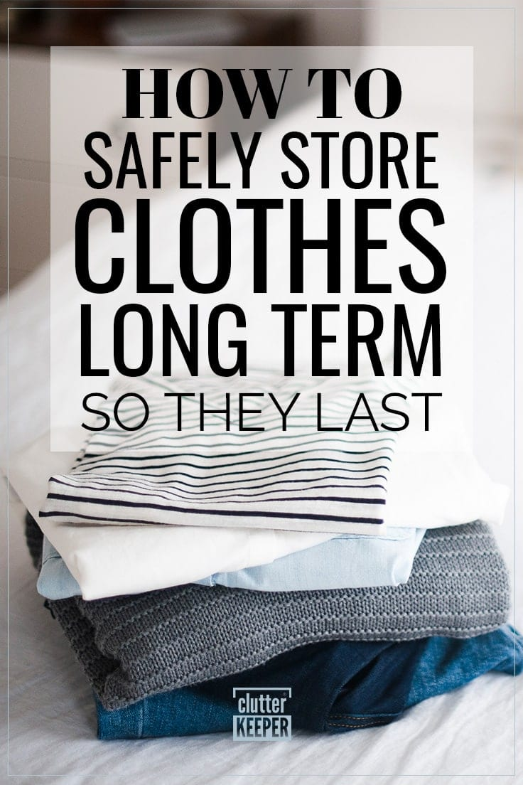 How to Safely Store Clothes Long Term So They Last, A stack of clothes including a pair of jeans, sweater and t-shirts on a bed ready to be put into long term storage for the season