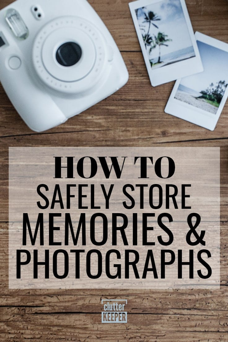 How to Safely Store Memories and Photographs, a white Instax camera with two instant photos of palm trees on a beach as a souvenir or keepsake from a vacation