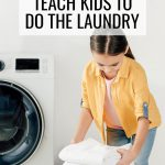 How to Teach Kids to Do the Laundry, child putting folded towels in a wicker laundry basket near a washing machine