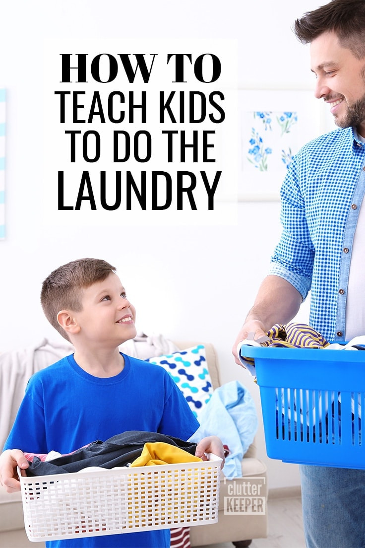 How to Teach Kids to Do the Laundry. Father and son holding laundry baskets.
