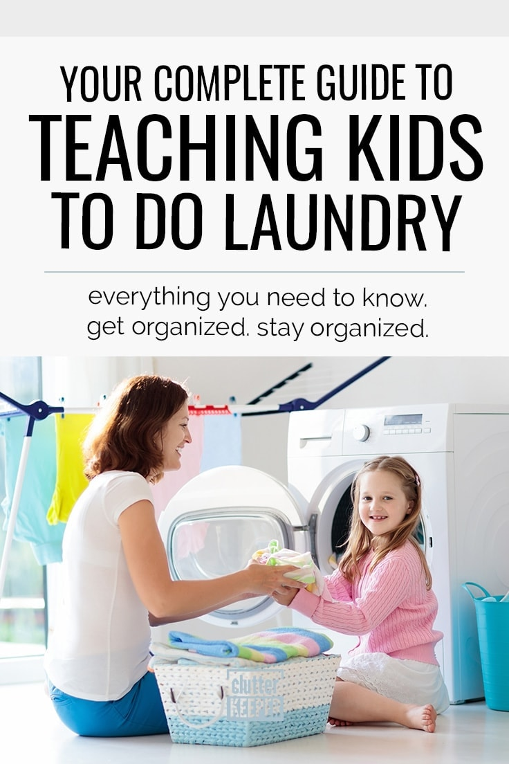 Your Complete Guide to Teaching Kids to Do Laundry. Everything You Need to Know. Get Organized. Stay Organized. Mother and daughter smiling and folding towels by a washing machine in a laundry room