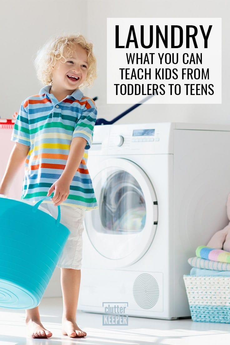 Laundry: What You Can Teach Kids from Toddlers to Teens, boy with curly hair carrying a plastic laundry basket near a washing machine