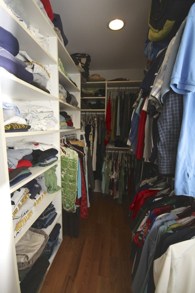 An organized master bedroom closet