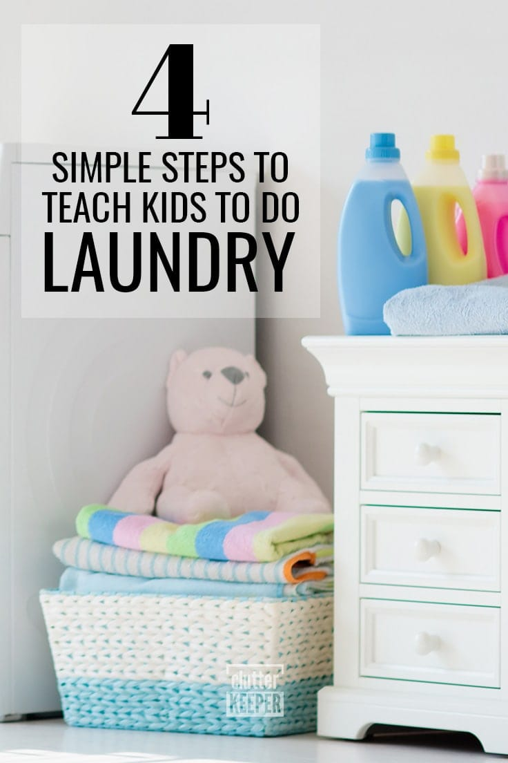 4 Simple Steps to Teach Kids to Do Laundry, a teddy bear on top of folded towels in a basket next to a washing machine in a laundry room