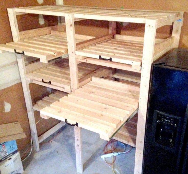 DIY Sliding Garage Shelves