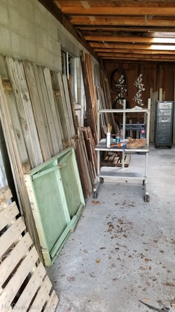 Storing reclaimed lumber in a garage