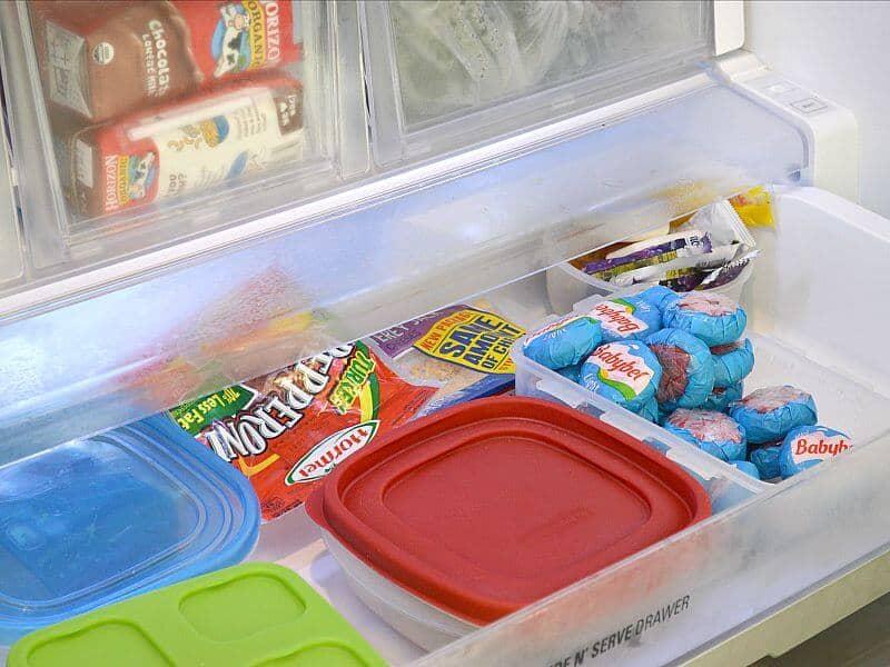 An organized refrigerator drawer