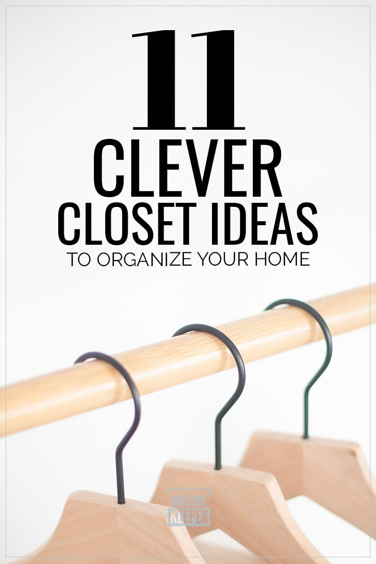 11 Clever Closet Ideas to Organize Your Home, 3 wooden hangers on a rod in a closet