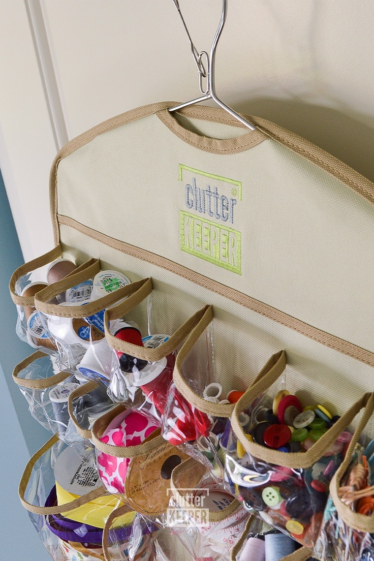 Close up of the smaller pockets at the top of the 44 Pocket Hanging Organizer from Clutter Keeper®