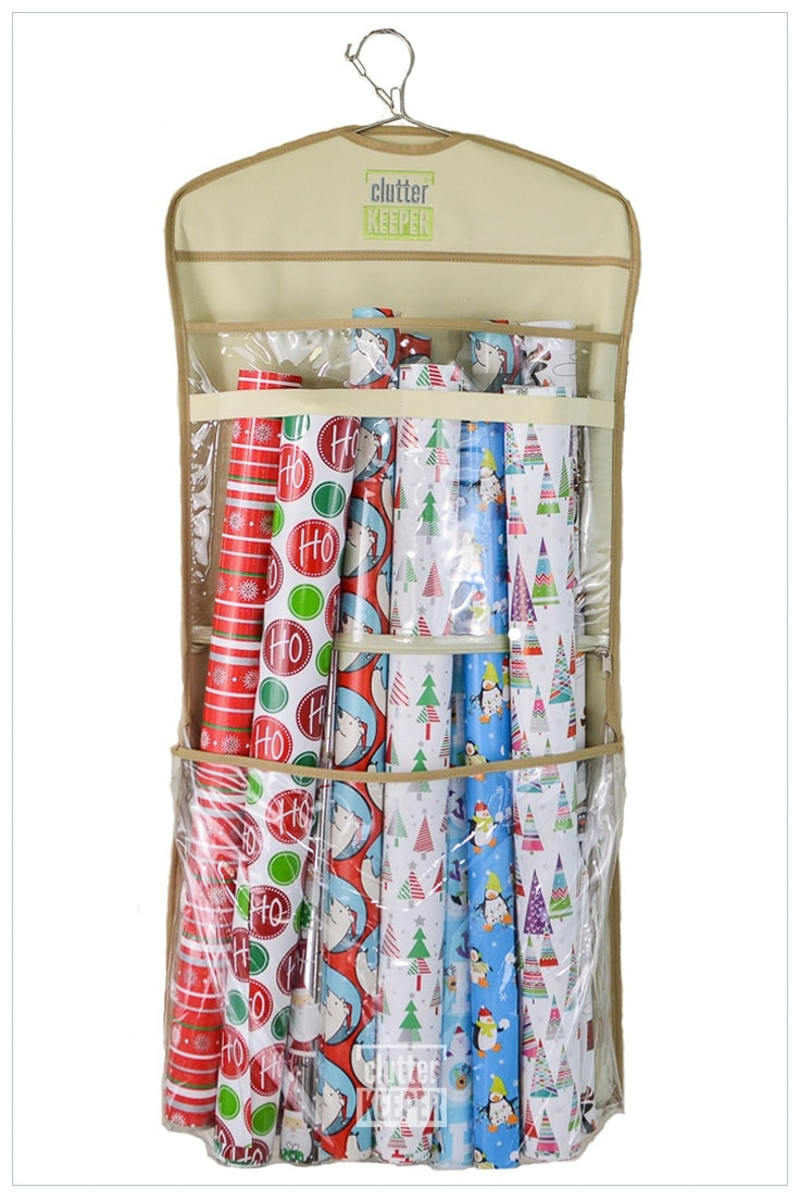 Hanging gift wrap organizer from Clutter Keeper filled with rolls of wrapping paper
