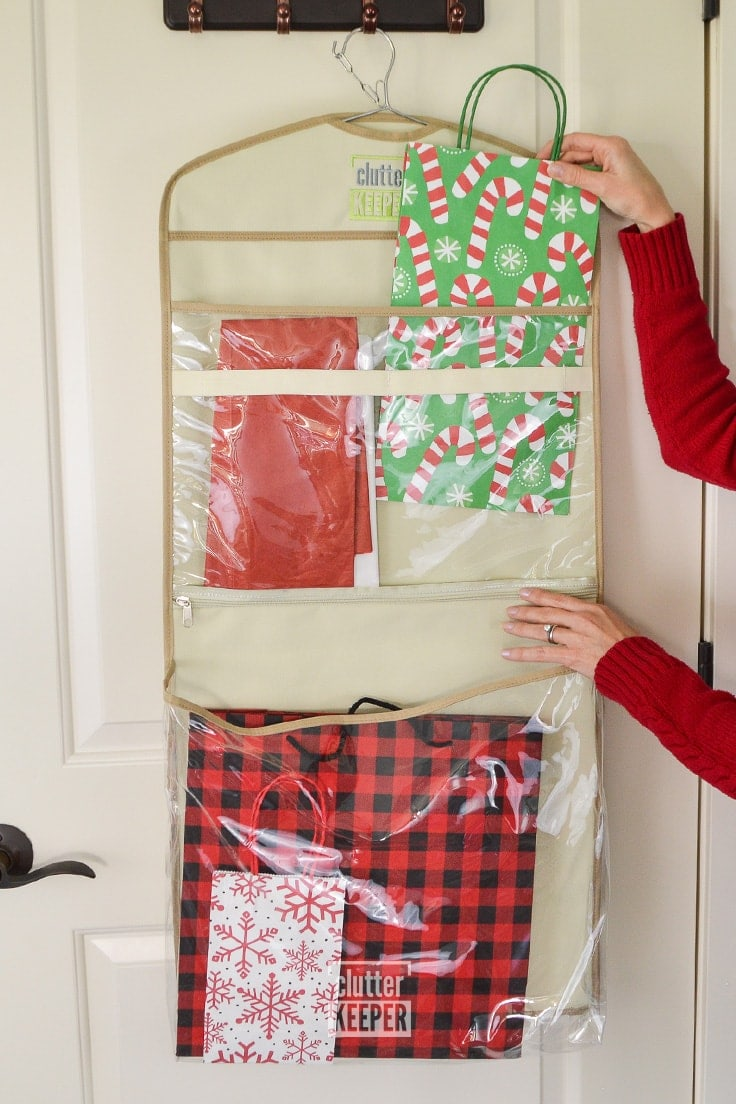 Hanging gift wrap organizer from Clutter Keeper® with two large pockets for gift bags
