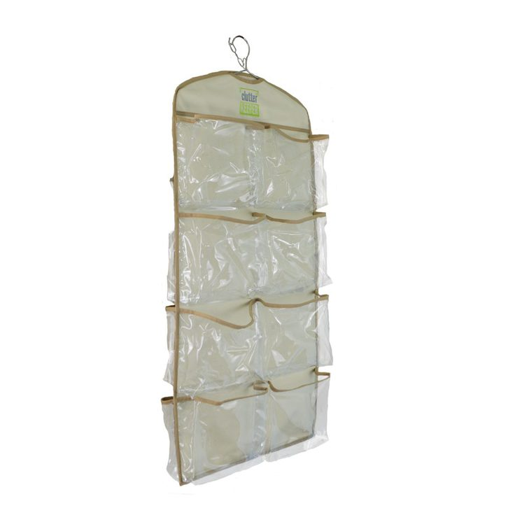 Angled side view of an empty Clutter Keeper® Deluxe 15 Pocket Hanging Storage Organizer for closet organization