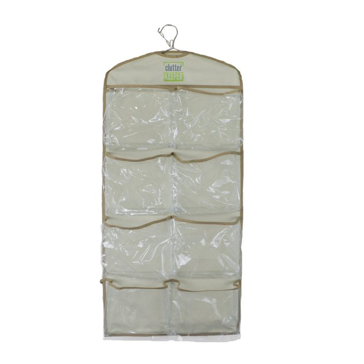 The front side of an empty Clutter Keeper® Deluxe 15 Pocket Hanging Storage Organizer for closet organization