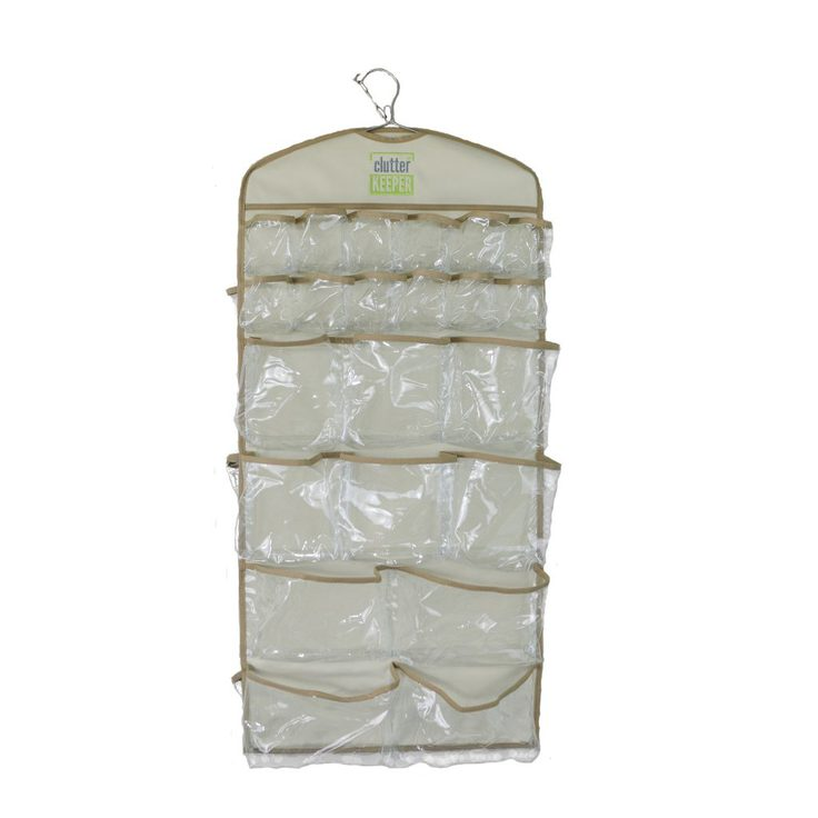 An empty Clutter Keeper® 44 Pocket Hanging Organizer for closet storage