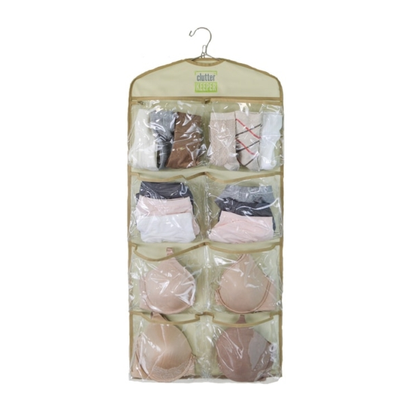 The Clutter Keeper Deluxe 15 Pocket Hanging Organizer filled with bras, underwear and socks to help organize your closet