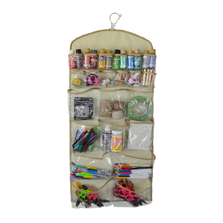 The back side of the Clutter Keeper® Deluxe 44 Pocket Hanging Storage Organizer