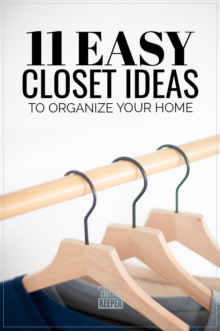 11 Easy Closet Ideas to Organize Your Home, 3 wooden hangers on a rod in a closet