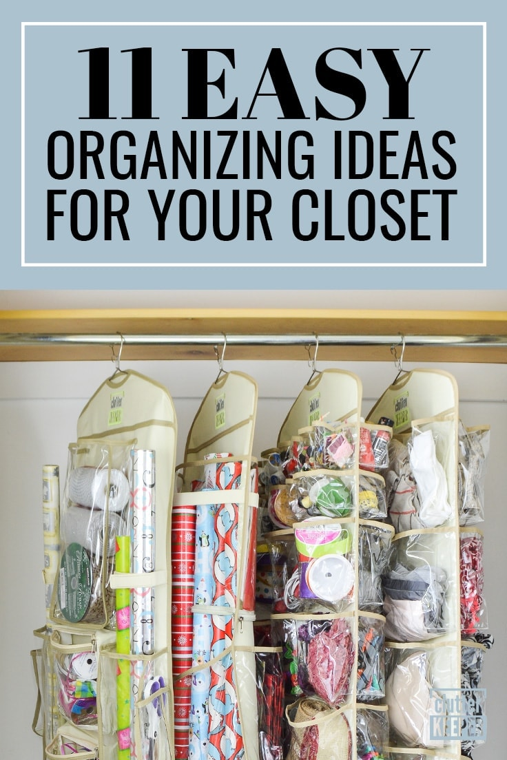 11 Easy Organizing Ideas for Your Closet, four Clutter Keeper® hanging organizers on a rod in a closet