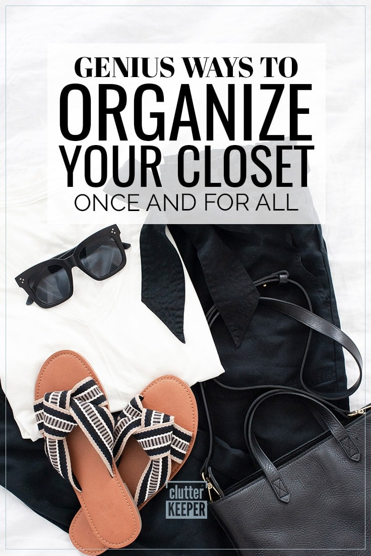 Genius Ways to Organize Your Closet Once and For All - sandals, purse, pants and a blouse ready to be organized in a closet.