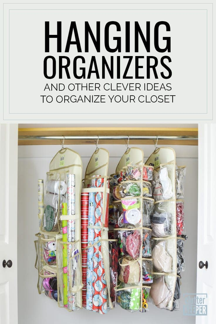 Hanging Organizers and Other Clever Ideas to Organize Your Closet, four Clutter Keeper® hanging organizers on a rod in a closet