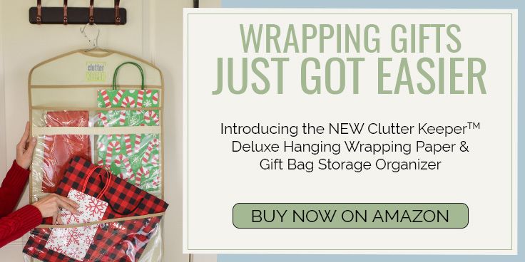 Wrapping Gifts Just Got Easier. Introducing the NEW Clutter Keeper® Deluxe Hanging Wrapping Paper and Gift Bag Storage Organizer - Buy Now on Amazon