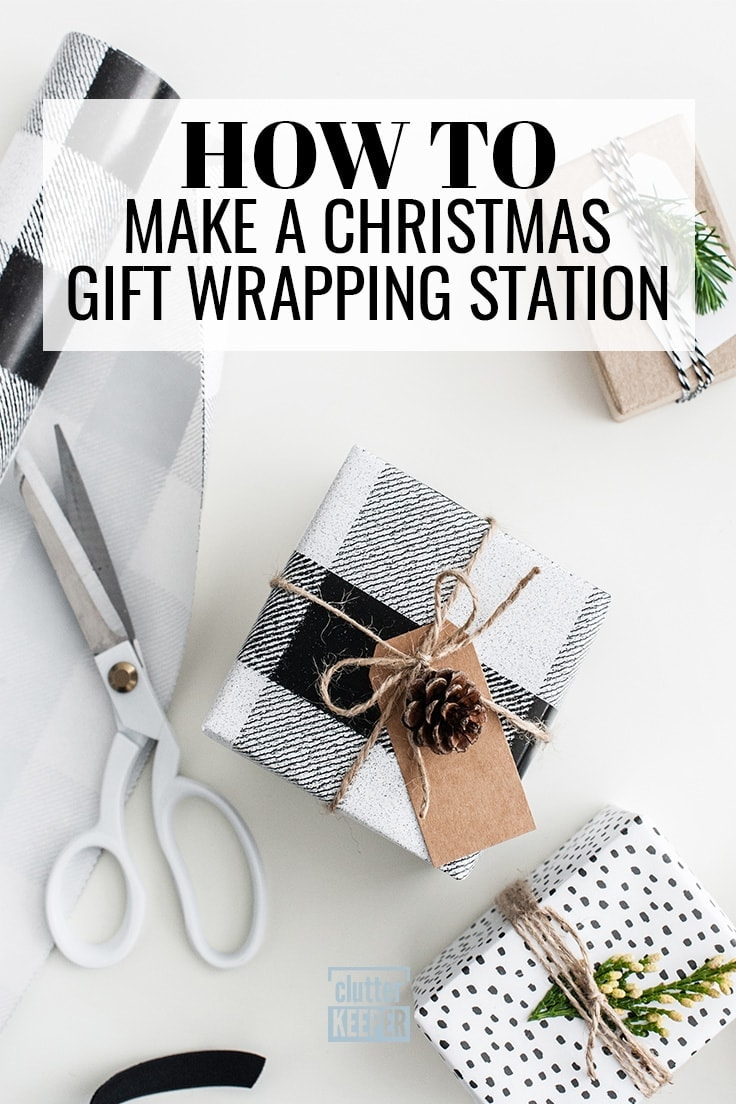 How to Make a Christmas Gift Wrapping Station, scissors, wrapping paper and presents for the holidays