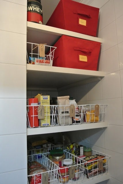 An organized pantry with deep shelves
