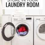 What to store in your laundry room, clothes dryer full of clothing with an open door