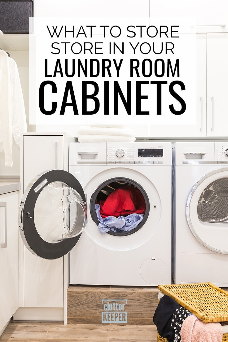 What to store in your laundry room cabinets, clothes dryer full of clothing with an open door