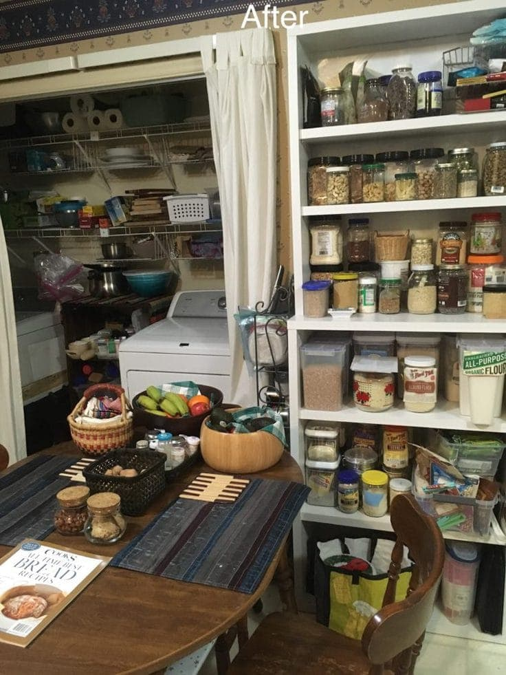 An organized pantry and kitchen table