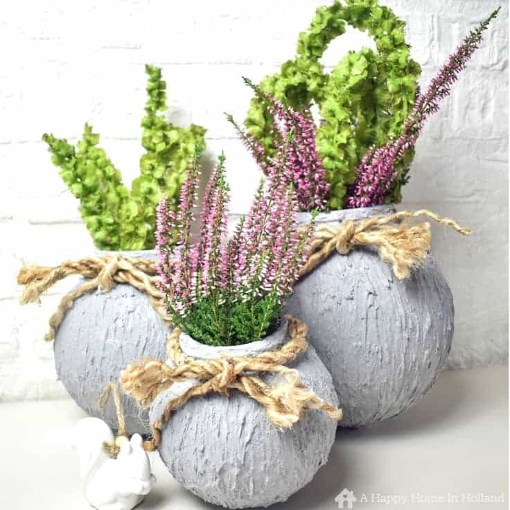 Upcycled cement vases