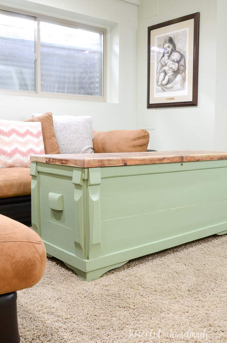 upcycled chest to a coffee table