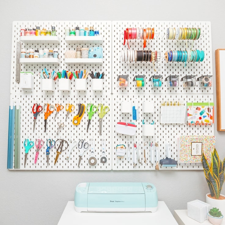 A Peg Board Wall in a Craft Room
