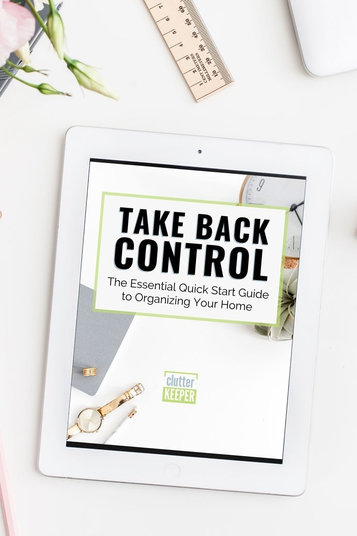 Digital eBook, Take Back Control: The Essential Quick Start Guide to Organizing Your Home display on an iPad surrounded by home office supplies