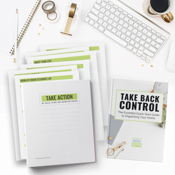 With this digital quick start guide and printables, you'll learn easy, effective ways to take action to get your home organized when you're overwhelmed.