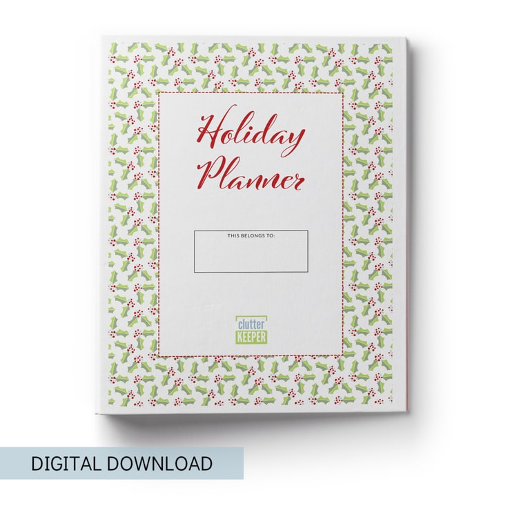 TheClutter Keeper Holiday Planner is full of 29+ worksheets, checklists and other printables that will help you to get organized, feel less stressed and find joy this Christmas season.